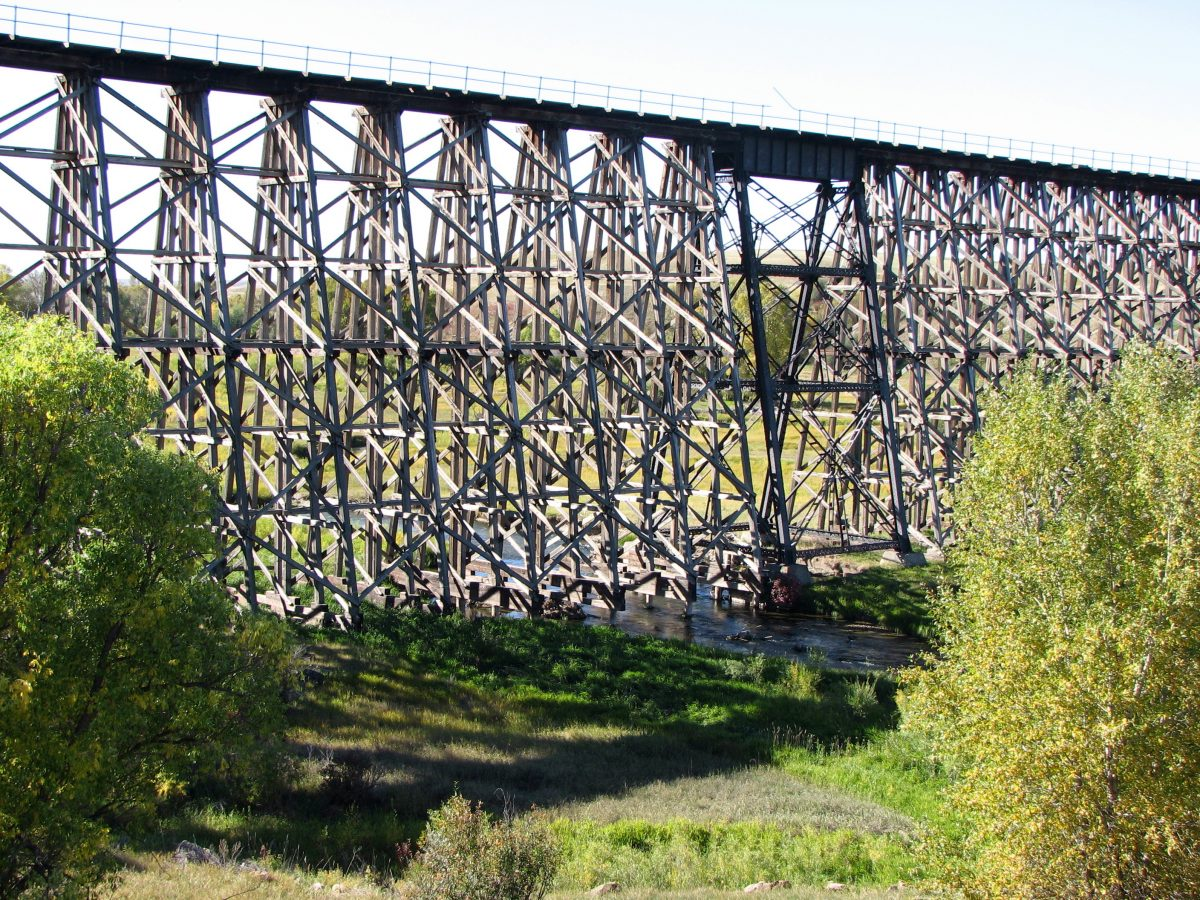 A large wooden railroad trestle in Montana