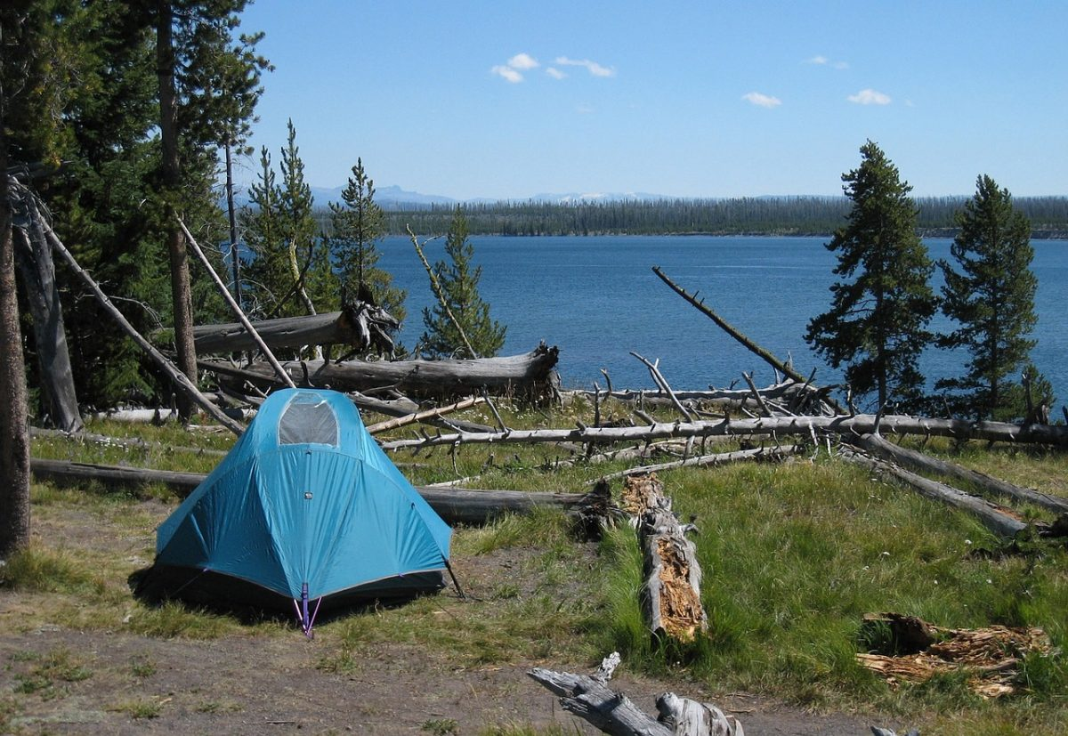 Campsite near beautiful lake