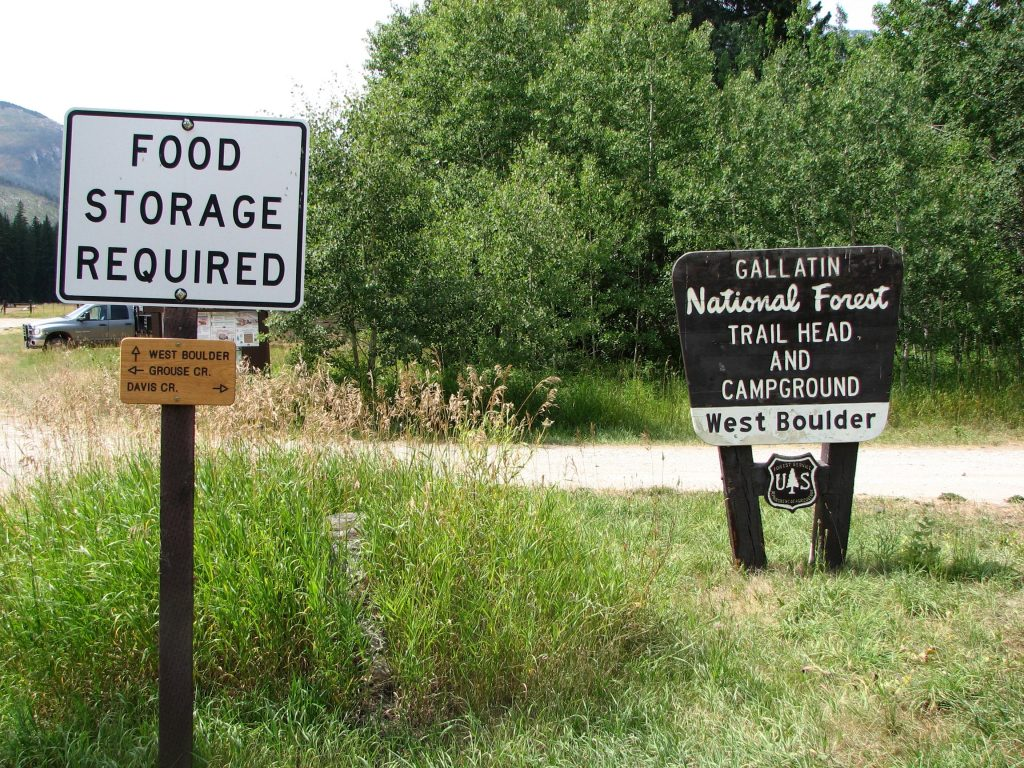 signs at West Boulder trailhead