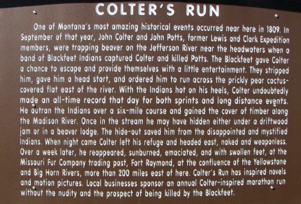 "Sign telling the story of ""Colter's Run"""
