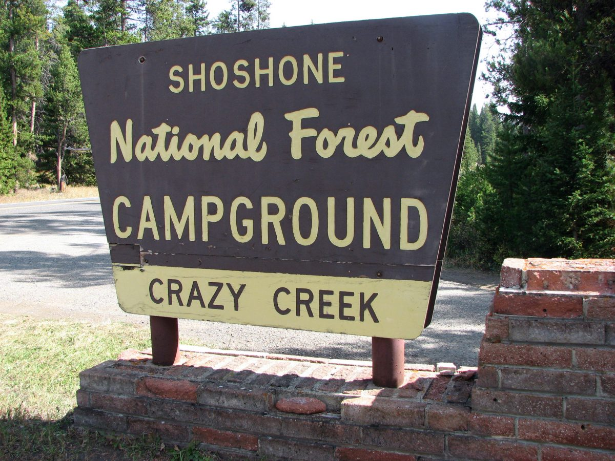 Crazy Creek campground sign