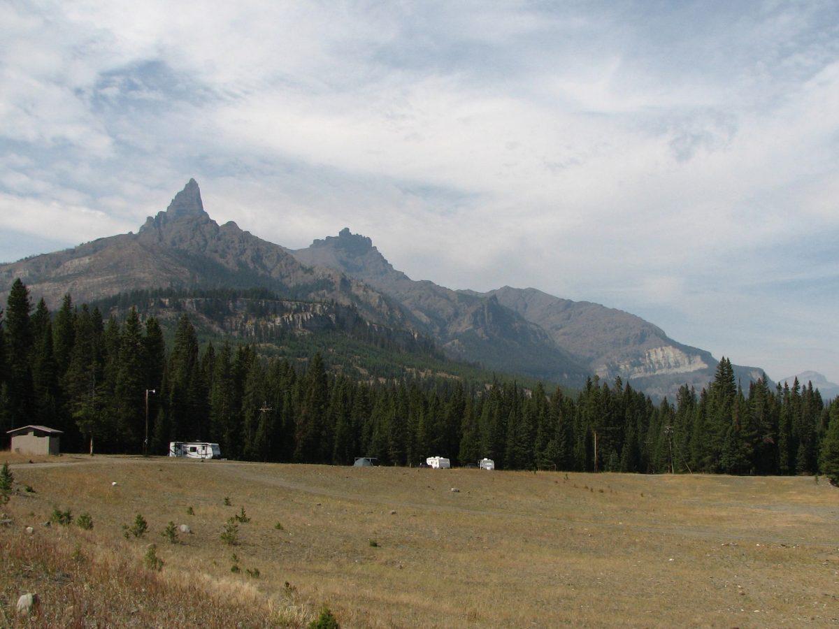 Pilot Peak behind Pilot Creek dispersed camping area