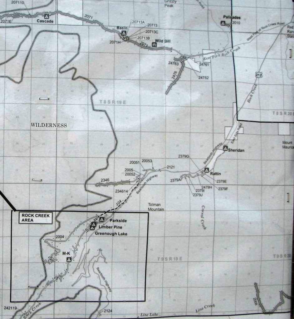 Map of campgrounds inRock Creek drainage
