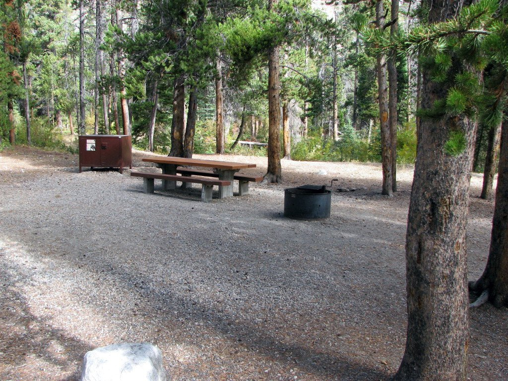 Typical campsite in Basin campground near Red Lodge, MT