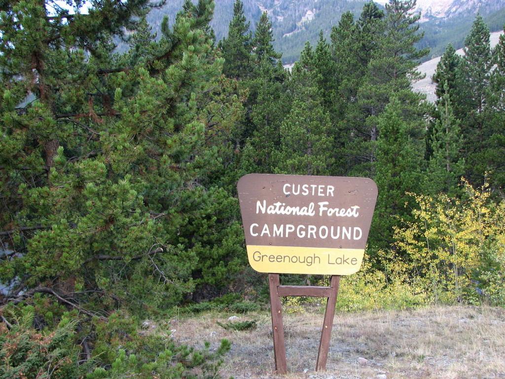 Greenough Lake Campground entrance sign