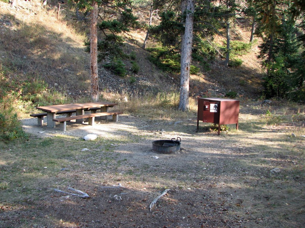 Typical campsite at Sheridan Campground