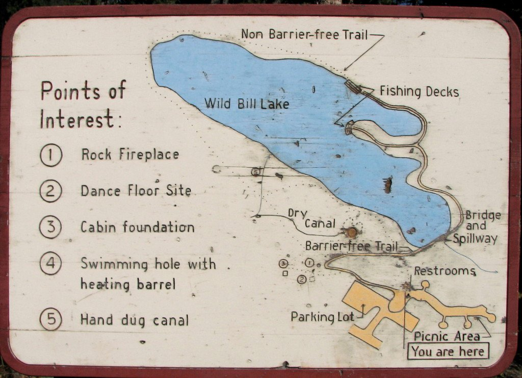Wild Bill LAke map sign
