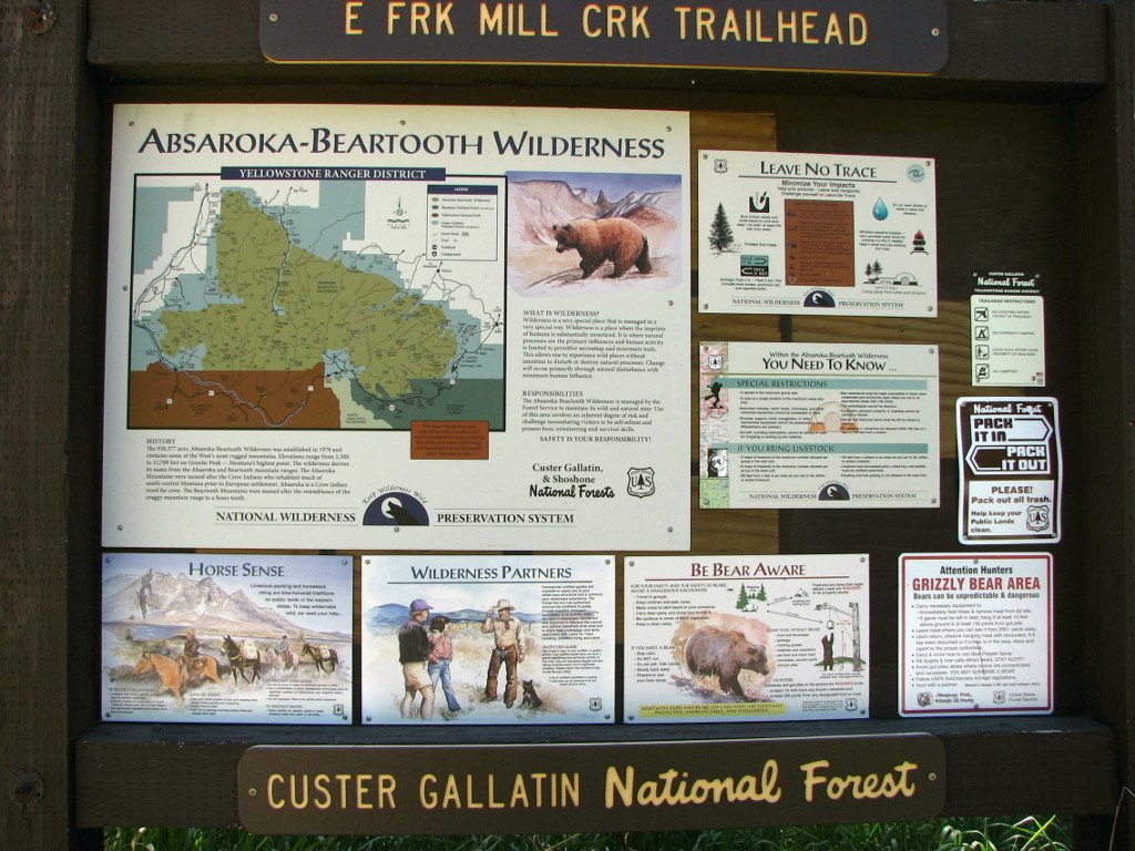 Photo of the signboard at the East Fork Mill Creek trailhead