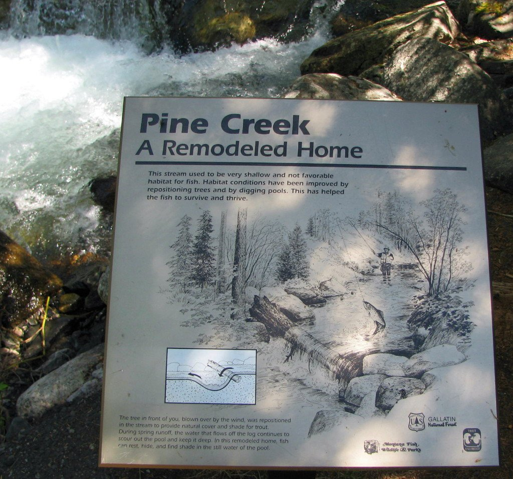 Photo of streamside sign on the Pine Creek accessle trail