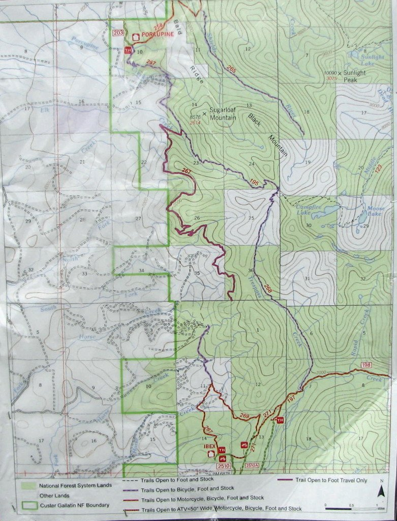 Porcupine Ibex Trail and western Crazy Mountains trail map