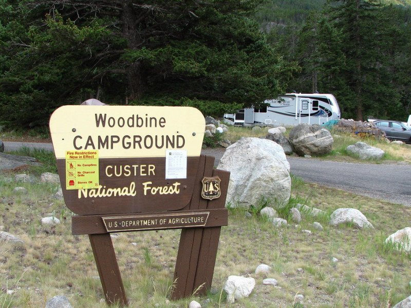 Woodbine Campground entrance sign
