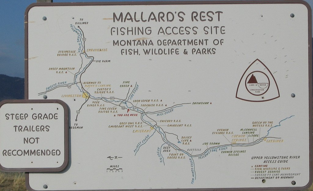 Map of Yellowstone RIver Fishing Access Sites